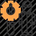 cogwheel, electronics, humanpictos, mechanic, mechanical, repair, screwdriver icon