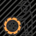 garage, mechanic, mechanical, people, wheel, worker, wrench icon