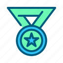 badge, champion, medal, sports, star, trophy, winner icon