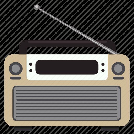 antenna, fm, media, music, news, redio, vintage icon