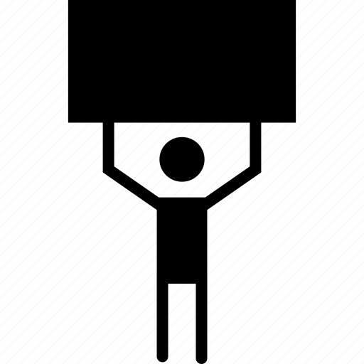 advertisement, board holding, man, marketing icon