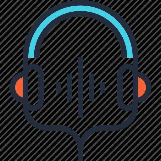 communication, entertainment, headphones, headset, media, music, sound icon