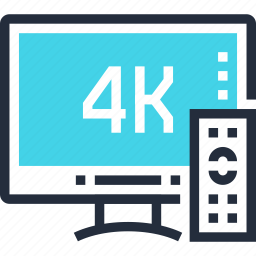 4k, device, display, media, smart, television, tv icon