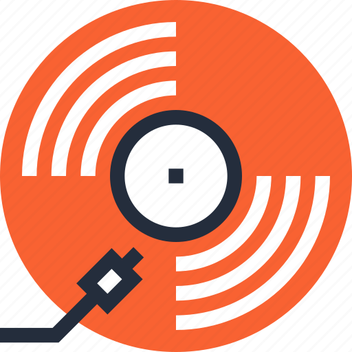 audio, disc, music, record, retro, vintage, vinyl icon