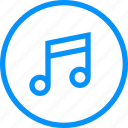 blue, media, melody, music, playlist, software, songs, ui, voice icon