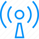 blue, host, internet, live, media, music, podcast, radio, show icon