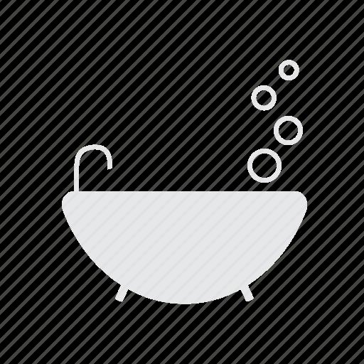 bath, bubbles, shower, tap, white icon