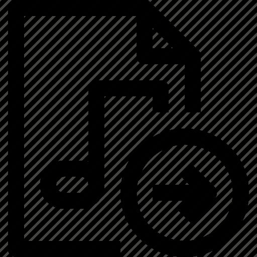 arrow, document, file, media, multimedia, musicfile icon
