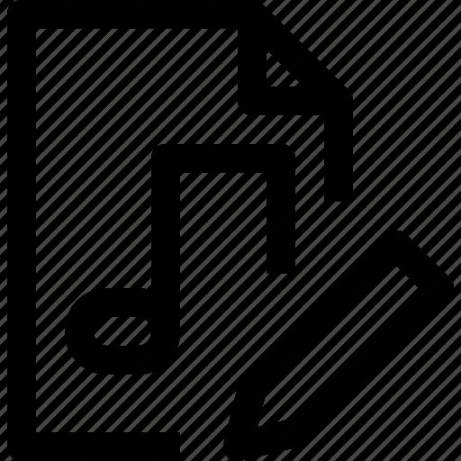 document, edit, file, media, multimedia, musicfile icon
