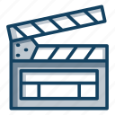 action, clapperboard, filmmaking video video production, movie clapper icon