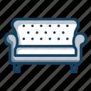 couch, furniture, settee, sofa, sofa seat icon
