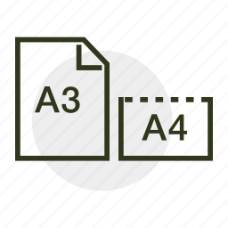 a3, a4, paper, paper formats, paper size, print icon