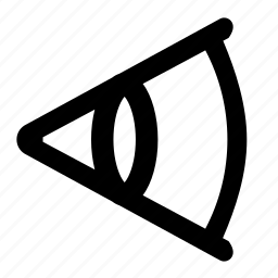 corner, degree, eye, focal, length, lens icon