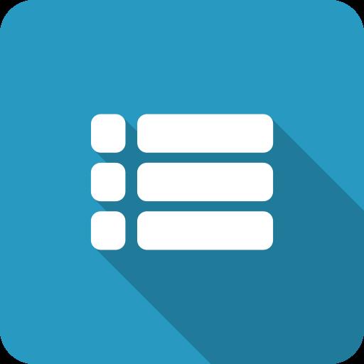 blue, menu, playlist, settings, shadow icon