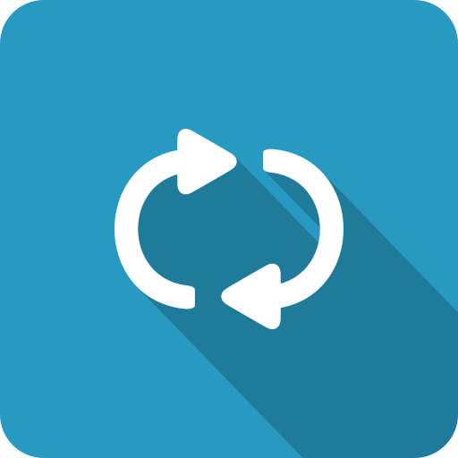 blue, continuous, loop, refresh, repeat, shadow icon