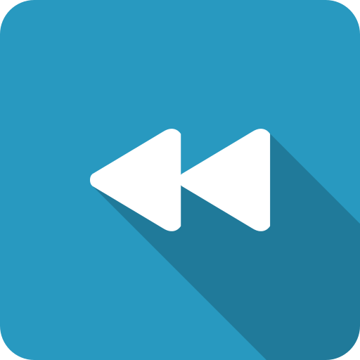 back, blue, navigate, previous, rewind, shadow icon
