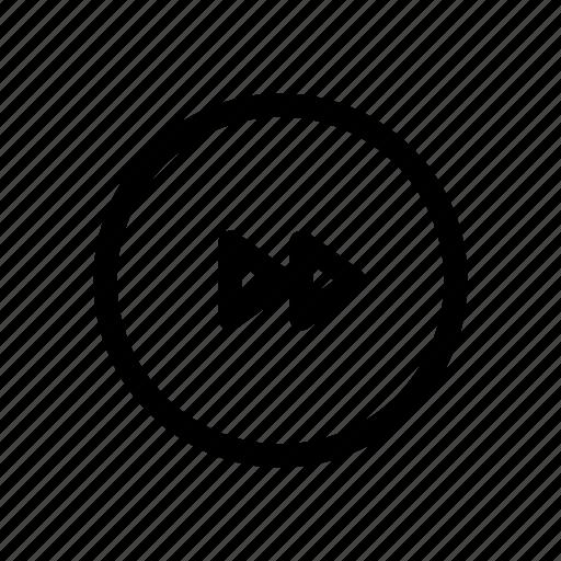 circle, fastforward, media, play, player, rewind icon