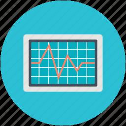 ecg, ecg screen, electrocardiogram, heart check up, heartbeat screen icon