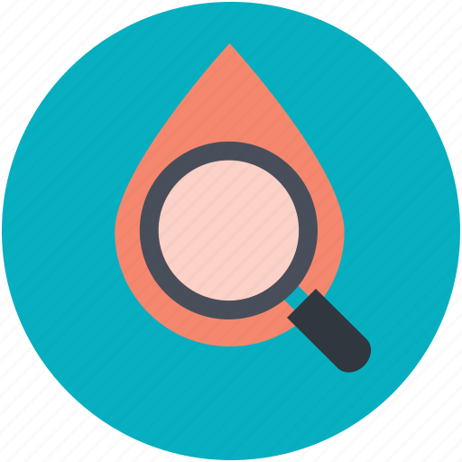 blood analysis, blood drop, blood examine, blood test, magnifier icon