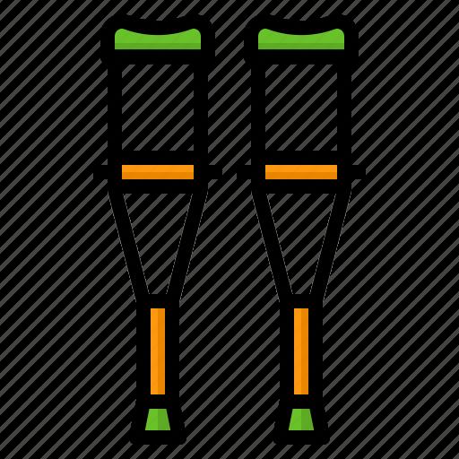 accident, crutch, disability, leg, walk icon