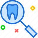 dentist, doctor, medic, search, tooth icon