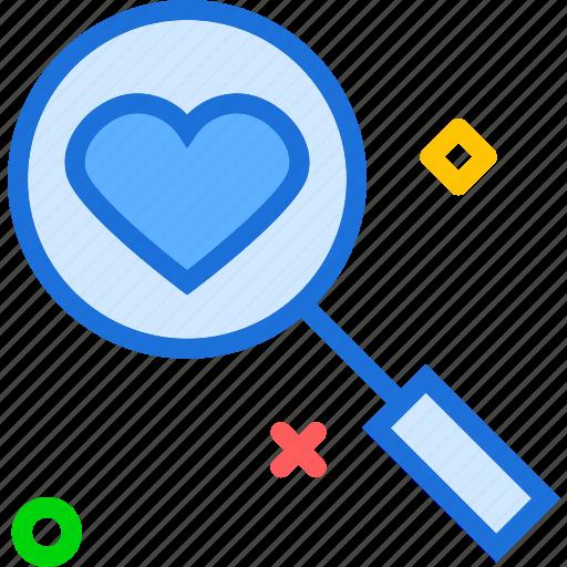 heart, love, organ, search icon