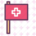 crossflag, health, medical icon