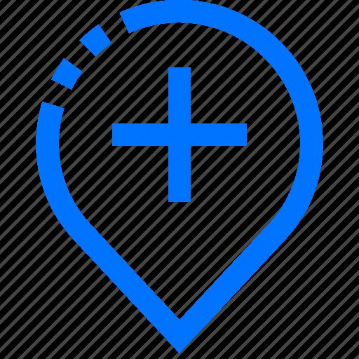 hospital, location, mark, medical, pin icon