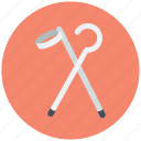 crutch, elbow crutch, medical supplies, mobility aid, walking stick icon