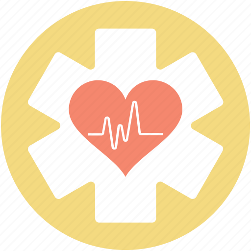 cardiology, health care, heart care, lifeline, star of life icon