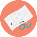 eye examination, eye test, eye test chart, glasses, snellen chart icon
