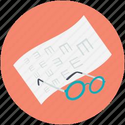 eye examination, eye test, eye test chart, glasses, snellen chart icon