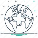 global, global medical services, healthcare, map, medical, research, services icon