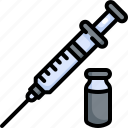 equipment, healthcare, hospital, injection, medical, syringe, vaccine icon