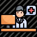 desk, doctor, healthcare, hospital, medical, table, workstation icon