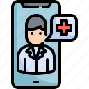 cellphone, consultant, doctor, health, healthcare, medical, smrtphone icon