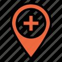 hospital, maps, location, medical, pin