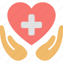 care, hands, health, heart, hospital, medicine, protection icon
