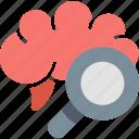 brain, health, magnifier, medicine, nerves, neurology, research icon