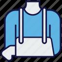 arm, bandage, fracture, medical, plaster icon