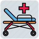 bed, emergency, medical, patient, stretcher, trolley icon