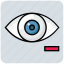 eye, eye test, medical, minus, view icon