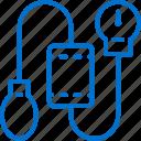 blood, health, healthcare, medical, pressure, pump, tonometer icon