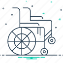 chair, disability, handicapped, physical impairment, wheel, wheel chair icon