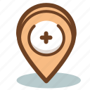 hospital, location, marker, medicine icon