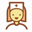 doctor, female, healthcare, medic, nurse icon