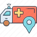 ambulance, ambulance location, location, pointer, position icon