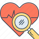 analysis, cardiogram, health, health analysis, search icon