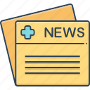 medical, medical news, message, news, publication icon
