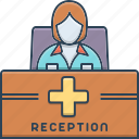 counter, desk, helpful, medical, profession, receptionist icon